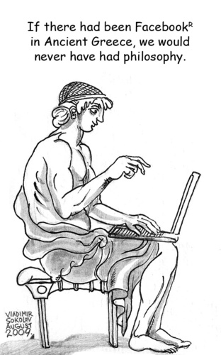 Cartoon: Ancient Greek Facebook (medium) by viconart tagged philosophy,greek,facebook,laptop,cartoon,viconart