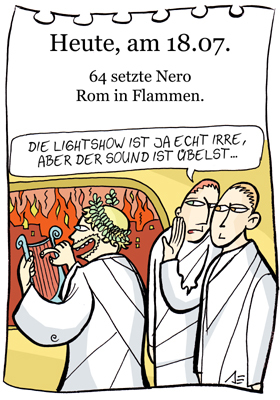 Cartoon: 18. juli (medium) by chronicartoons tagged rom,nero,feuer,cartoon