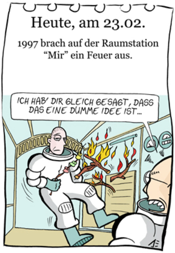Cartoon: 23. Februar (medium) by chronicartoons tagged mir,marshmalluw,lagerfeuer,weltraumstation,astrronaut,cartoon
