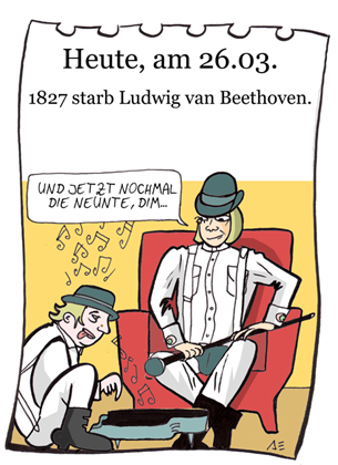 Cartoon: 26. März (medium) by chronicartoons tagged beethoven,clockwork,orange,peanuts,alex,dim,klassik,musik,chronicartoons