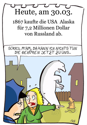 Cartoon: 30. März (medium) by chronicartoons tagged alaska,usa,eisbär,russland,polizei,hund,chronicartoons