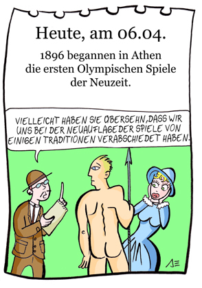 Cartoon: 6. April (medium) by chronicartoons tagged olympiade,speerwurf,nackt,leichtathletik,sport,cartoon