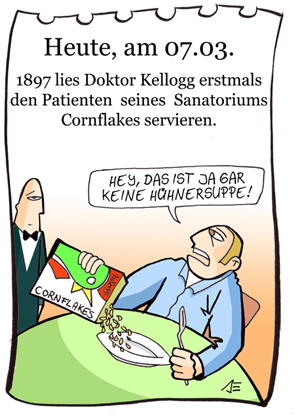 Cartoon: 7. März (medium) by chronicartoons tagged cornflakes,kellog,cartoon