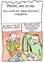 Cartoon: 21. September (small) by chronicartoons tagged blaue,mauritius,stamps,briefmarke,philatelie,post,cartoon
