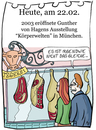 Cartoon: 22. Februar (small) by chronicartoons tagged günter,von,hagens,doktor,tod,körperwelten,metzger,cartoon