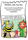 Cartoon: 2. September (small) by chronicartoons tagged sex,sexualkunde,aufklärung,blume,biene,schule,cartoon