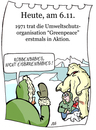 Cartoon: 6. November (small) by chronicartoons tagged greenpeace,arktis,eisbär,umweltschutz,cartoon