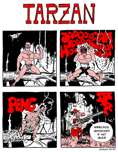 Cartoon: tarzan (medium) by zenundsenf tagged tarzan,jennerwein,zenundsenf