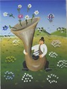 Cartoon: Flowery Music - Blumige Musik (small) by irene brandt tagged tuba,musikinstrument,musiker,freude,musik,music