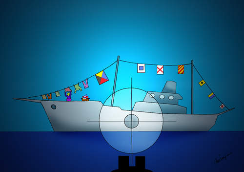 Cartoon: peace boat (medium) by huseyinalparslan tagged peace,boat,flag,terror,killer