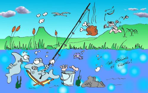 Cartoon: Origins Of Fishing (medium) by mart tagged origins,fishing,ursprung,fischerei,mart,hai,