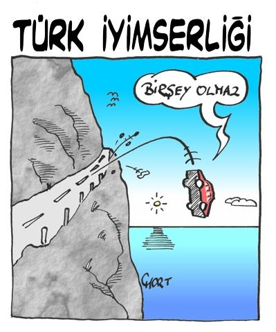 Cartoon: Turk Iyimserligi (medium) by mart tagged car,araba,accident,kaza,mart,
