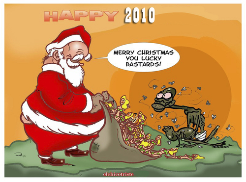 Cartoon: merry christmas (medium) by ELCHICOTRISTE tagged christmas