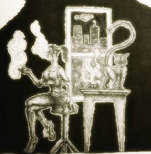 Cartoon: I-dont-care-any-more (medium) by Abe tagged sad,girl,cat,coffee,city,window,scape,ink,almost,naked,cross,legged,anklet,chair,table,careless,numb,question,mark,smoke,black