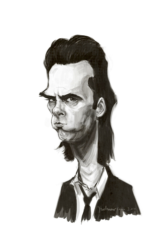 Cartoon: Nick Cave (medium) by Martynas Juchnevicius tagged nick,cave,singer,caricature,painting,digital