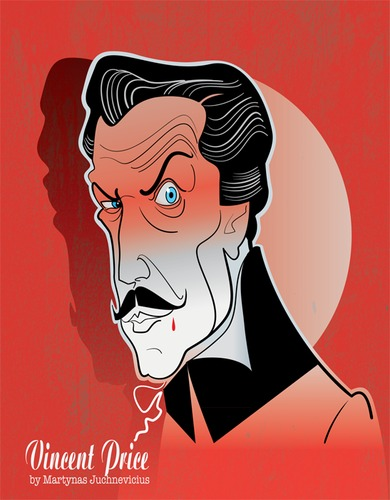 Cartoon: Vincent Price (medium) by Martynas Juchnevicius tagged vincent,price,horror,actor,film,movie