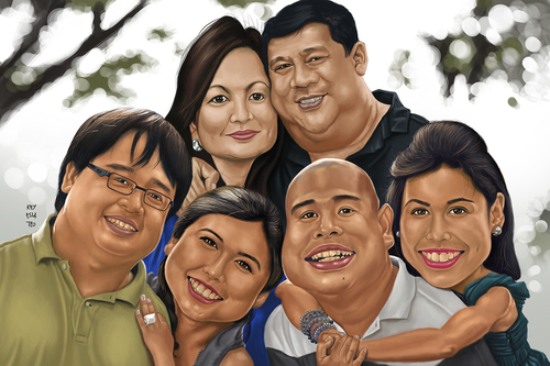 Cartoon: Yanson Family (medium) by Rey Esla Teo tagged painting,digital,portrait,caricature,family