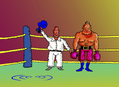 Cartoon: boxing (medium) by janjicveselin tagged boxer,boxing,sport,theft,ring,judges,winner,defeat,unsportsmanlike