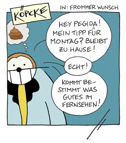 Cartoon: Köpcke - Frommer Wunsch (medium) by badham tagged köpcke,pegida,paris,dresden