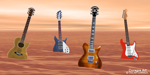 Cartoon: 4 Guitarres (medium) by DrCoragre tagged landscape,surreal,digital,media,mixed,drawing,pop,rock,guitar,music