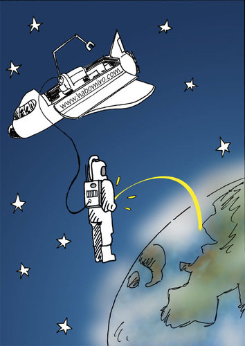 Cartoon: Astronaut (medium) by Habomiro tagged habomiro,weltraum,space,shuttle,pinkeln