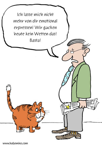 Cartoon: Wetten das (medium) by Habomiro tagged katze,wetten,dass,emotionale,erpressung