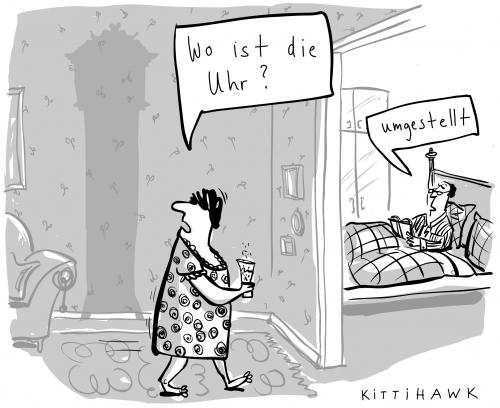 Cartoon: uhr umstellen (medium) by kittihawk tagged zeitumstellung,sommerzeit,winterzeit