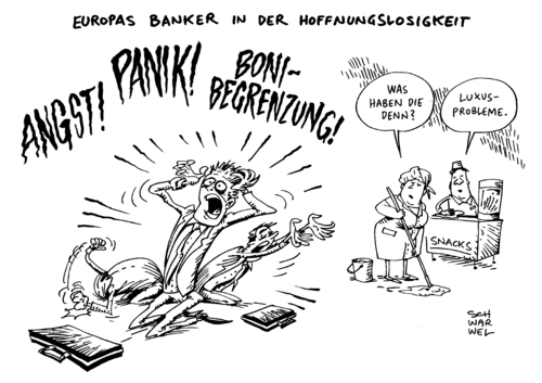 Cartoon: Banker Boni Schock (medium) by Schwarwel tagged obergrenze,banker,banken,boni,bonus,eu,beschluss,schock,london,karikatur,schwarwel,geld,finanzen,handel,obergrenze,banker,banken,boni,bonus,eu,beschluss,schock,london,karikatur,schwarwel,geld,finanzen,handel