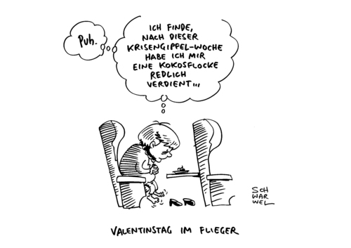 Cartoon: Merkel Krisengipfel (medium) by Schwarwel tagged merkel,valentinstag,krisengipfel,marathon,krise,karikatur,schwarwel,merkel,valentinstag,krisengipfel,marathon,krise,karikatur,schwarwel