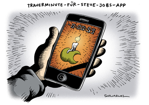 Cartoon: Trauer um Steve Jobs (medium) by Schwarwel tagged steve,jobs,tot,tod,trauer,apple,iphone,konzern,mac,idesign,krebs,krank,krankheit,krebsleiden,tim,cook,app,ipad,it,pionier,ipod,visionär,genie,chef,unternehmen,macintosh,itunes,erfinder,innovation,pixar,animation,software,ibook,kult,vorreiter,karikatur,schwarwel,steve jobs,tod,trauer,apple,iphone,mac,konzern,krebs,krankheit,visionär,chef,steve,jobs