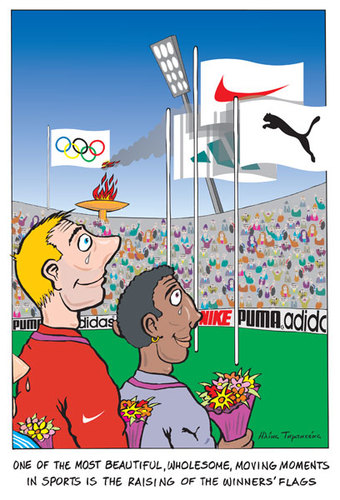 Cartoon: A Moving Momement (medium) by etc tagged olympic,games,sports,flags,big,companies,money