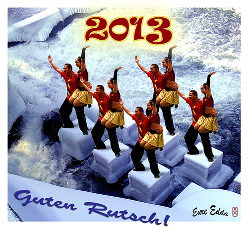Cartoon: 2013 - Guten Rutsch ! (medium) by edda von sinnen tagged guten,rutsch,2013,silvester,happy,new,year,germany,illustration,edda,von,sinnen