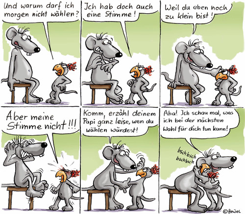 Cartoon: Stimmübertragung (medium) by Ratte Ludwig tagged ratte,ludwig,wahl,emma,papa,stimme,kind