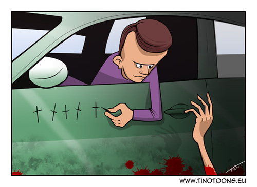 Cartoon: The Driver (medium) by tinotoons tagged driver,accident,help,car