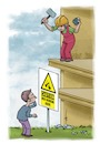 Cartoon: Work above (small) by tinotoons tagged caution,work,above,hammer,rock,worker
