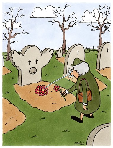 Cartoon: Sein letzter Scherz (medium) by Ottitsch tagged clown,graveyard,friedhof,gravestone,flowers,widow,witwe,trauer,herbst,grabstein,joke,dieing,sterben,death,dead,tot