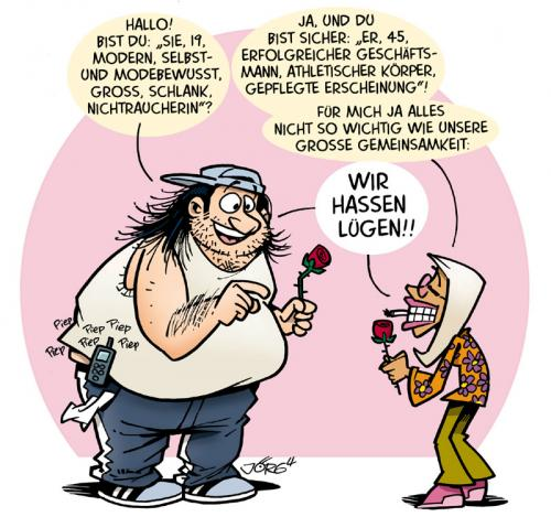 Cartoon: Blind Date (medium) by Comiczeichner tagged lüge,er,sucht,sie,