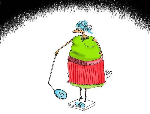Cartoon: - (medium) by romi tagged fat,woman,weight,mirror