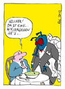 Cartoon: Kellner! (small) by bob tagged kellner,ober,gast,restaurant,essen,suppe,fliege