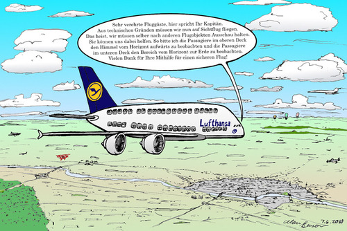 Cartoon: Airbus A380 Contest (medium) by toonpool com tagged lufthansa,airbus380,airbus,plane,flugzeug,contest