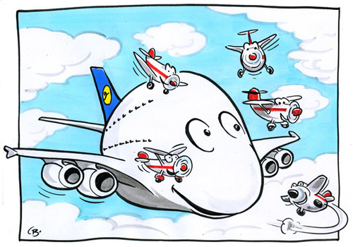 Cartoon: Airbus A380 Contest (medium) by toonpool com tagged airbus380,airbus,lufthansa,contest,plane,flugzeug