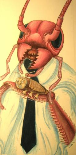 Cartoon: Gregor Samsa (medium) by imaginarypeople tagged colored,pencil,art,