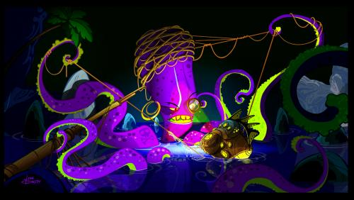 Cartoon: Octopus fishing (medium) by blackmorgan tagged animation,cartoon,book,
