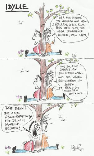 Cartoon: Idylle (medium) by langhalsebacher tagged romantik,idylle,frau,mann,beziehung