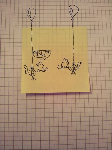 Cartoon: Not macht erfinderisch. (medium) by Post its of death tagged hünchen