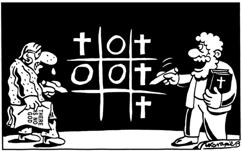 Cartoon: Noughts and crosses (medium) by Igor Kolgarev tagged cross,nought,christian,atheism,bible,christianity,belief,religion,faith,believer