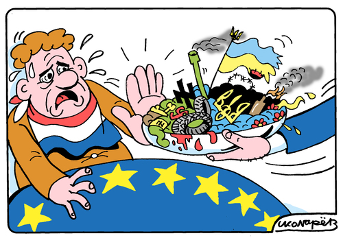Cartoon: Referendum in Netherlands (medium) by Igor Kolgarev tagged netherlands,holland,ukraine,ec,europe,referendum