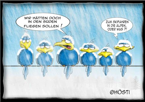 Cartoon: Höstis Batty Birds (medium) by Hösti tagged hösti,cartoons,hoesti,stephan,höstermann,batty,birds