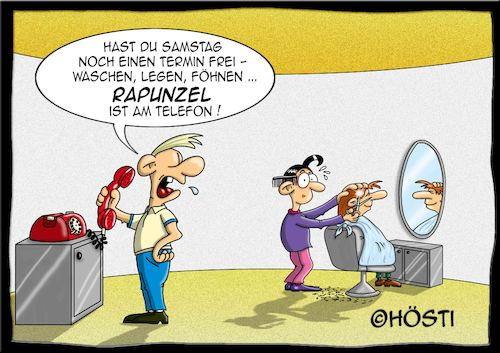 Cartoon: Höstis Haarspaltereien (medium) by Hösti tagged hösti,cartoons,hoesti,stephan,höstermann,frisör,frisuren,haare,schneiden