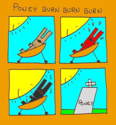 Cartoon: Poney burn burn burn (medium) by lpedrocchi tagged poney,sun,burn